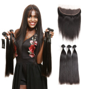 SuperNova Brazilian Straight Hair Weave Bundles with 13x 4 Ear to Ear Full Lace Frontal Closure Unprocessed Human Hair Extensions Natural Colour