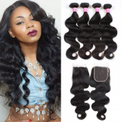 Mink Hair Peruvian body Wave Hair with Lace Closure (22 24 26 26 + 20) 7A Unprocessed Body Wave Virgin Human Hair Extensions with 4X4 Free Part Closure Natural Colour