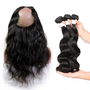 BEEOS Hair 8A Grade Unprocessed Brazilian Virgin Hair 360 Lace Frontal With Bundles Body Wave 360 Frontal With Bundles 30cm with 16 18 20