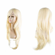 Labetti 28 inch 70cm Long Big Wavy Curly Hair Ends Halloween Costume Party Cosplay Wig Blond Wavy Curly Heat Resistance Wig With Free Wig Cap