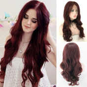 Fennell Long Heat Resistant Synthetic Hair Half Hand Tied Burgundy Body Wave Lace Front Wig For Woman