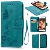 iPhone 6 Wallet Case, iPhone 6S Leather Case, Embossed Butterfly Multi-function 2 in 1 Magnetic Separable Removable PU Leather Wallet Case Flip Cover With Credit Card Slots Cash Clip Case for iPhone 6 6S, Blue