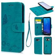 S8 Plus Wallet Case, S8 Plus Case Leather Detachable Embossed Butterfly Multi-function 2-in-1 Magnetic Separable Removable PU Leather Wallet Case Flip Cover With Credit Card Slots Cash Clip Case for Samsung Galaxy S8 Plus, Blue