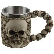 Double Skull Design Polyresin Milk Tea Coffee Mug With Stainless Steel Insert