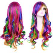 Ateid Women Wig Long Hair Rainbow Curly Wavy + Wig Cap