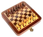 Stonkraft Handmade Premium wood 18 x 18 cm Chess Set - Rosewood Foldable Magnetic Set with Storage