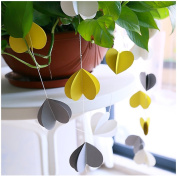 Raylinedo® 1X Yellow Grey And White Paper Garland For Wedding Birthday Anniversary Party Christmas Girls Room Decoration Heart Shape3D
