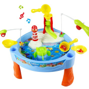 Water Play Table Toy Fishing Game Splash Waterpark with Accessories and Music Light for Kids 3 +