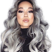 Lanting Ombre Grey 2 Tones Synthetic Lace Front Wig Dark Roots Long Beauty Wave Silver Grey Hair Wigs For Women Heat Resistant Fibre Hair Half Hand Tied