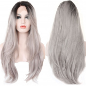Eastmermaid 2 Tones Synthetic Lace Front Wig Ombre Hand Tied Wavy Silver Wig Dark Roots Heat Resistant Fibre Hair
