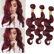 XCCOCO Hair 99j# Body Wave Hair 8A 3 Bundles Peruvian Remy Human Hair Extension Red Wine Pure Colour Wholesale Hair Weave Products Burgandy Bundles