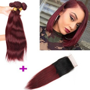 Wome Hair Wine Red Ombre Hair 99J# Extensions Brazilian Silky Straight Virgin Hair 3 Bundles/300g With 4x4 Free Part Invisible Lace Closure
