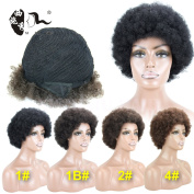 18cm 100g/pcs Hair Synthetic Short Kinky Curly Afro Wig for Black Women High Temperature Fibre