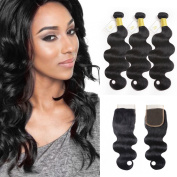 Fumigirl 7A Virgin Brazilian Human Hair Body Wave Weave 3 Bundles with 4x4 Lace Closure