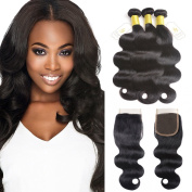 Fumigirl Brazilian Virgin Body Wave Human Hair Weave Pack of 3 with 1 piece Free Part Lace Top Closure Brazilian Remy Hair