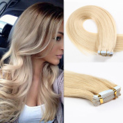 HAIQUAN 50cm Tape In Blonde Human Hair Extensions 5Pcs Slilky Straight Seamless Skin Weft Remy Hair