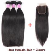 Glamorous Remi Peruvian Virgin Hair Silk Straight Hair with closure Unprocessed Human Hair Natural Colour 100g per Pcs