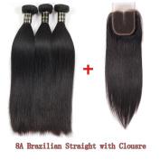 Glamorous Remi Brazilian Virgin Hair Silk Straight Human Hair with Closure Natural Colour 100g per Pcs (Pack of 3Pcs)