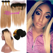 Zenith Middle Length Silky Straight 360 Frontal Lace Wig with 3 Hair Bundles for African American Women Brazilian Human Hair Best Ombre 360 Wig with Hair Bundles 50cm 60cm 60cm + 46cm