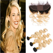 Tony Beauty Hair Blonde Ombre Brazilian Virgin Hair Bundles 3Pcs With Silk Base Frontal Body Wave Two Tone 1B/613 Ombre Silk Top Full Lace 13x4 Closure With Weaves 4Pcs Lot