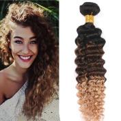 Tony Beauty Hair Top Quality Deep Wave Brazilian Ombre Human Hair Extensions 3Pcs 1B/4/27 Honey Blonde Ombre Double Wefts Three Tone Coloured Virgin Human Hair Bundles 25cm - 80cm