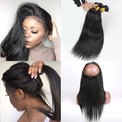 Pre Plucked 360 Lace Frontal With Bundles 8A Unprocessed Brazilian Virgin Human Hair Straight Lace Frontal Closure With Baby Hair Natural Hair Line 18 18 18 With 16