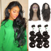 Missivy 360 Lace Frontal Closure with Bundles Brazilian Virgin Hair Body Wave 3 Bundles with 360 Lace Frontal 100% Human Hair Extensions with Baby Hair 16 16 16+25cm