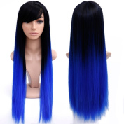 70cm Long Ombre Coloured Wigs Cheap Long Synthetic Wigs For Black Women Natural Ombre Blue Wig Cosplay Cheap Hair Wigs For Women