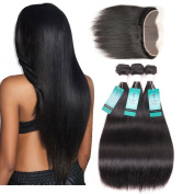 UDU Brazilian Straight Hair with Frontal 3 Bundles of Brazilian Hair with Full Lace Frontal Closure 13x4 Free Part , Healthy Sexy Brazilian Virgin Human Hair
