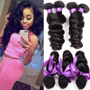 Cherie hair 7A Grade loose wave brazilian hair 4 bundles 100% Unprocessed wet and wavy human hair extensions Natural Black 95-105g/pc