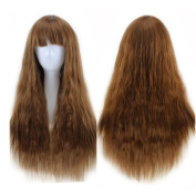Danlier 60cm Long Wavy Wigs With Bangs For Women Full Wigs Synthetic Curly Lolita Wig Darkbrown