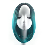 Danlier Ombre Heat Resistant Wigs Green Synthetic Wigs Bob Style Straight Short Wigs For Black Women