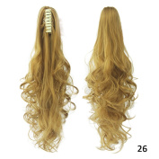 Danlier 50cm Long Curly Claw Clip Ponytail Extension Synthetic Clip in Ponytail Hairpiece Jaw Clip Wavy Hair Extension 26