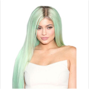 Danlier 80cm Long Straight Wigs Green Heat Resistant Wigs For White Women Natural Synthetic Hair