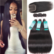 UDU Hair Straight Weave 7A Brazilian Virgin Hair 3 Bundles with Lace Closure MIddle Part Mixed Unprocessed Human Hair weft Natural Colour Hair