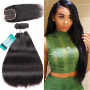 UDU Brazilian Straight Hair Weaves 3pcs/lot with Lace Closure Middle Part with Bleached Knotes Virgin Remy Unprocessed Human Hair Bundles Natural Colour