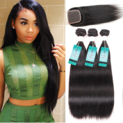 Brazilian Straight Virgin Hair with Closure, UDU Virgin Hair 3 Bundles with lace closure 8A grade Unprocessed Human hair bundles with free part lace closure Natural Colour