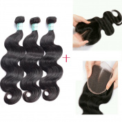 Glamorous Remi Malaysian Virgin Hair Natural Colour Body Wave with closure 100g per Pcs (Pack of 3Pcs)
