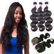 Glamorous Remi Peruvian Virgin Hair Natural Human Hair Colour Natural Body Wave with Closure 350g