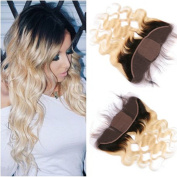 Tony Beauty Hair Blonde Ombre Frontal Closure With 4x 4 Silk Base Two Tone 1B/613 Ombre Brazilian Hair Body Wave Silk Top 13x 4 Full Lace Closure Bleached Knots