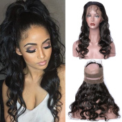 GEM Beauty Brazilian Body Wave Virgin Hair 360 Pre Plucked Lace Frontal Closure With Baby Hair 1pc 25cm Natural Black