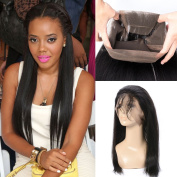 GEM Beauty Straight Human Hair 360 Full Lace Frontal Brazilian Virgin Hair Pre Plucked 360 Frontal Closure With Baby Hair 36cm