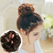 HAIQUAN Light Brown Hair Bun Updo Hairpiece Human Hair Extensions Wavy Curly Messy Donut Hair Chignons Hair Wig