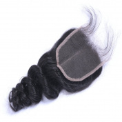 MeiRun 4X4 Loose Wave Closure Virgin Human Hair Closure With Baby Hair Bleached Knots 7A Grade Natural Black