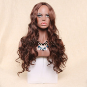 Alan Hair Beautiful Long Red Brown Colour Body Wave Wigs, High-Temperature Synthetic Fibre Wavy Wig for Women