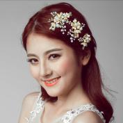 Jovono Womens 3pcs Wedding Bridal Hair Clips with Bead Flower Rhinestone