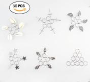Qorol 35pcs Silver Ring Shell Hands Cross Leaves Star Pendant Rings Set Hair Clip Headband Hair Accessories