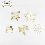 Qorol 30pcs Gold Shell Cross Hands Leaves Star Ring Pendant Rings Set Hair Clip Headband Hair Accessories