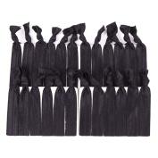 Munax Elastic Hair Ties No Crease Elastic Ribbon Ponytail Holders Hair Bands, Solids Black , 100 pcs