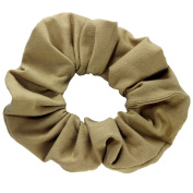 Khaki Cotton Jersey Scrunchies Large Jumbo Ponytail Holders Scrunchie King Made in the USA